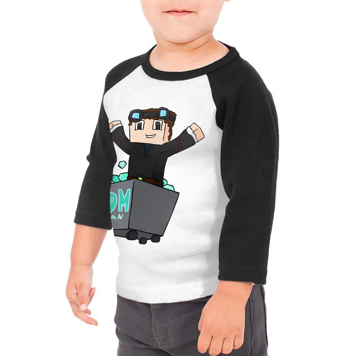 Black6Red The Diamond Minecart DAN TDM Childrens 3//4 Sleeve T-Shirt
