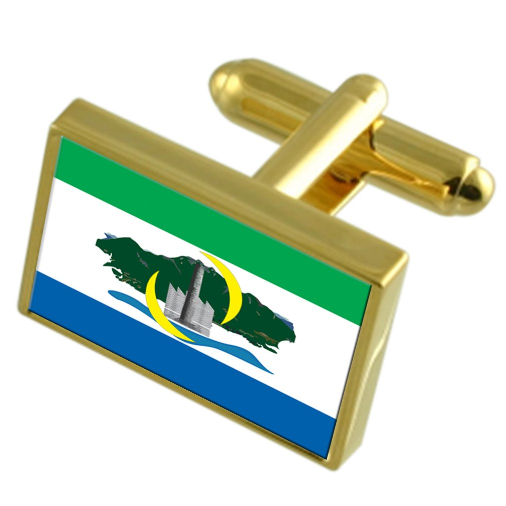 Serra City Espirito Santo State Gold-tone Flag Cufflinks Engraved Box