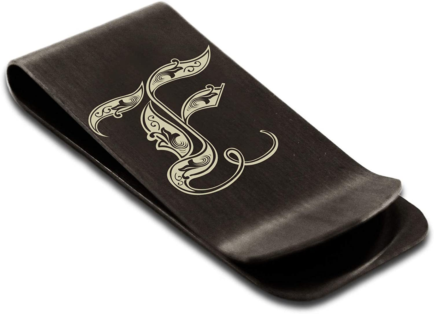 Stainless Steel Money Clip for Men Royal Initial Monogram Wallet Cash Card Holder with Personalized Stainless Steel Money Clip with Custom Engraving Money Clip for Dad