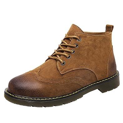 Jitong Herren Schnürstiefel Klassische Stiefelette Freizeit Kunstleder Oxford Outdoor Boots Braun Asien 42 (26cm) 0cCdNe