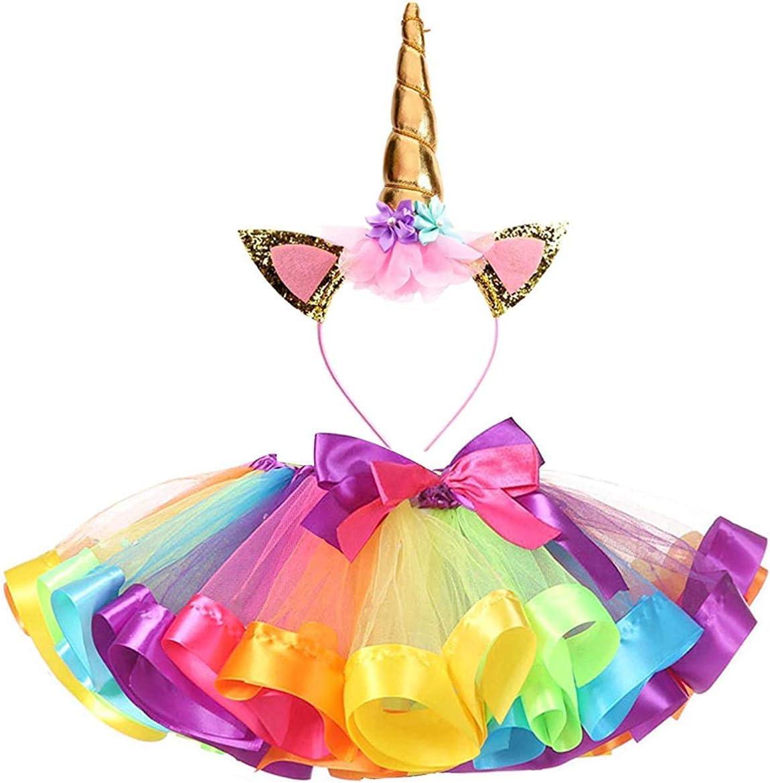Ksnrang Tutu Falda Disfraz de Unicornio para Niñas Diadema ...