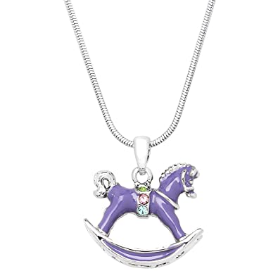 Amazon Com Lola Bella Gifts Crystal Purple Rocking Horse Pendant