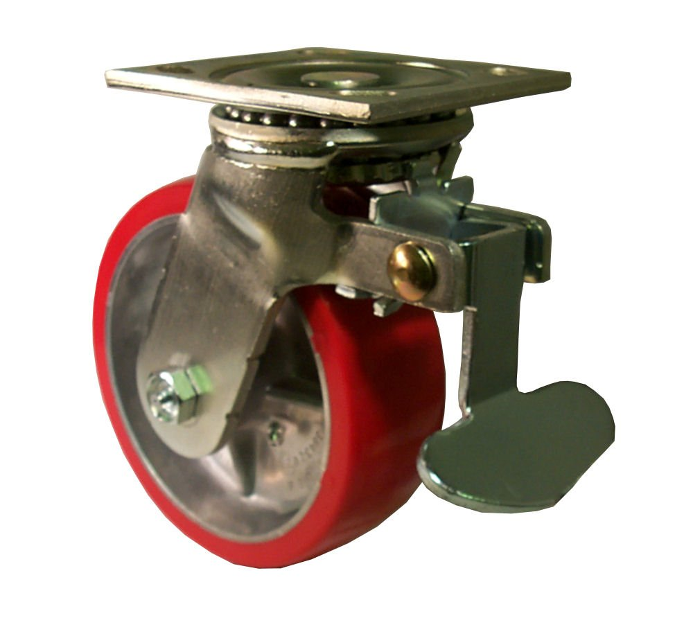 E.R. Wagner Plate Caster, Swivel with Directional Lock, Polyurethane on Aluminum Wheel, Roller Bearing, 1050 lbs Capacity, 5'' Wheel Dia, 2'' Wheel Width, 6-1/2'' Mount Height, 5-1/2'' Plate Length, 5'' Plate Width