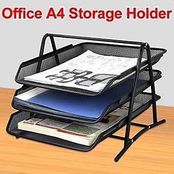 Beyondfashion malla de alambre Organizador de oficina escritorio oficina archivador de 3 niveles soporte de carta bandeja: Amazon.es: Oficina y papelería