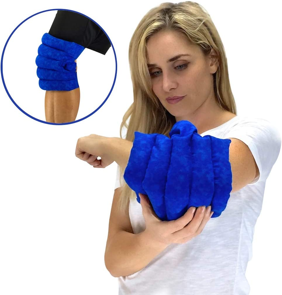 Nature Creation- Knee & Elbow Wrap -Natural Pain Relief-Herbal Heating Pack- Soothing Hot Therapy (Blue Marble)