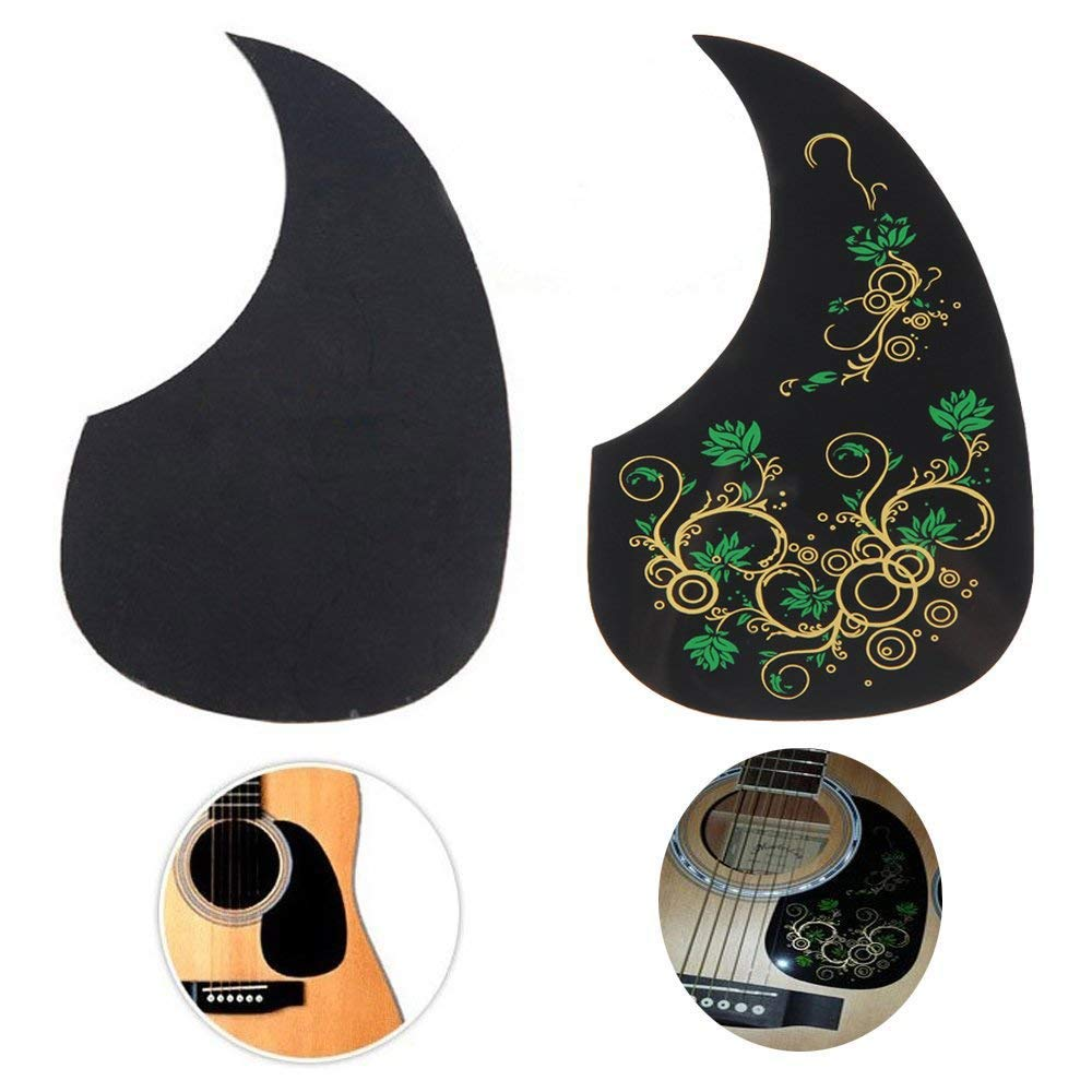 Creanoso Acoustic Guitar Pickguard Scratch Plates (2 Pack) - Green Floral and Classic Black - Cool Guitar Accessories Gifts 6.61E+11