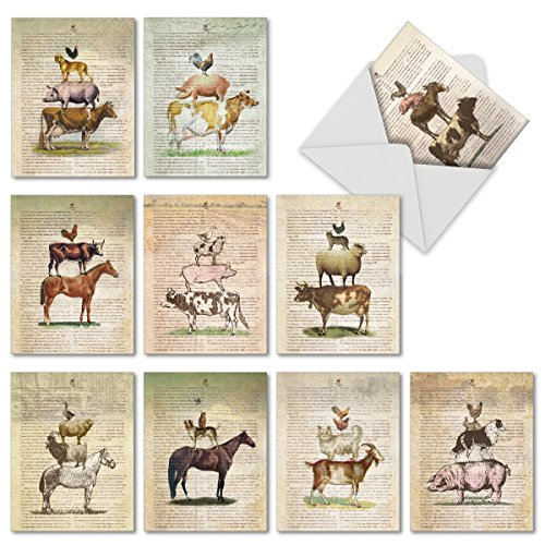 "10 Note Cards (with Envelopes), Assorted 'Farm Stand' Blank Greeting Cards, Vintage All Occasion Cards for Birthday, Congratulations, Retirement - Stationery Notecards (4"" x 5 ¼"") #M6595OCB (Greeting Stands Card)"