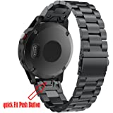 Aresh for Garmin Fenix 5 Quick Fit Band Stainless Steel Metal Band (Black)