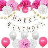AMTOK 飾り付け 装飾 セット バースデー ガーランド ペーパーフラワー フラッグガーランド お祝い (ピンク)