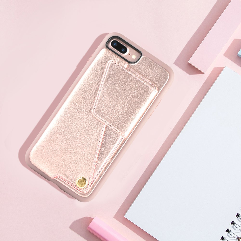 iPhone 8 Plus Wallet Case, ZVEdeng iPhone 7 Plus Card Holder Case, Protective Shockproof Leather Wallet Case with Card Holder for Apple iPhone 8 Plus (2017)/iPhone 7 Plus (2016) - Rose Gold … by ZVEdeng (Image #10)