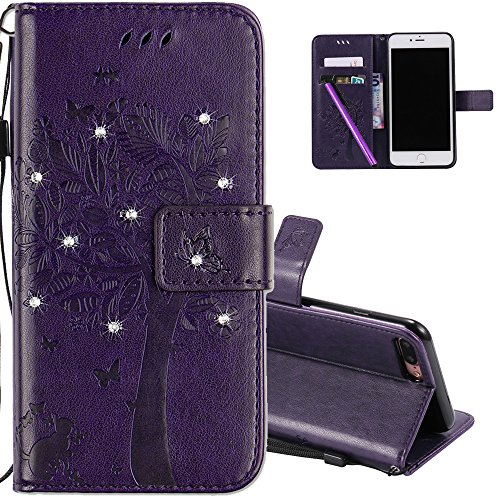HMTECH iPhone 7 Plus case 5.5 Inch 3D Crystal Embossed Love Tree Cat Butterfly Handmade Shine PU Flip Stand Card Holders Wallet Cover for iPhone 8 Plus iPhone 7 Plus Wishing Tree Diamonds Purple KT