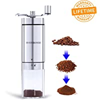 Wheroamoz Manual Coffee Grinder, Portable Hand Crank Coffee Grinder For Travel, Brushed Stainless Steel, Conical Burr Mill With Adjustable Setting Best For Espresso, French Press, Cold & Turkish Brew …