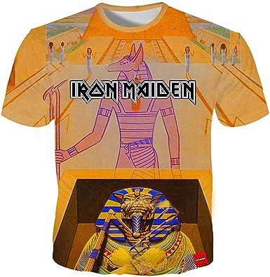 Iron Maiden Camiseta Estilo de la Calle Patrón de Dibujos Animados de impresión de Manga Corta Cuello Redondo T Shirt Blusa Summer tee Blusa Hombres ...