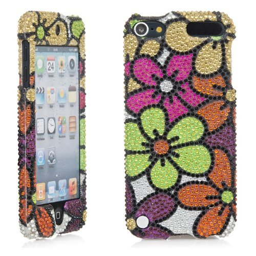 iPod Touch Case, 3D White Pearl Bling Rhinestone Crystal Jeweled Snap on Full Cover Case for Apple iPod Touch 6th Gen 5th Gen (Colorful Flower)