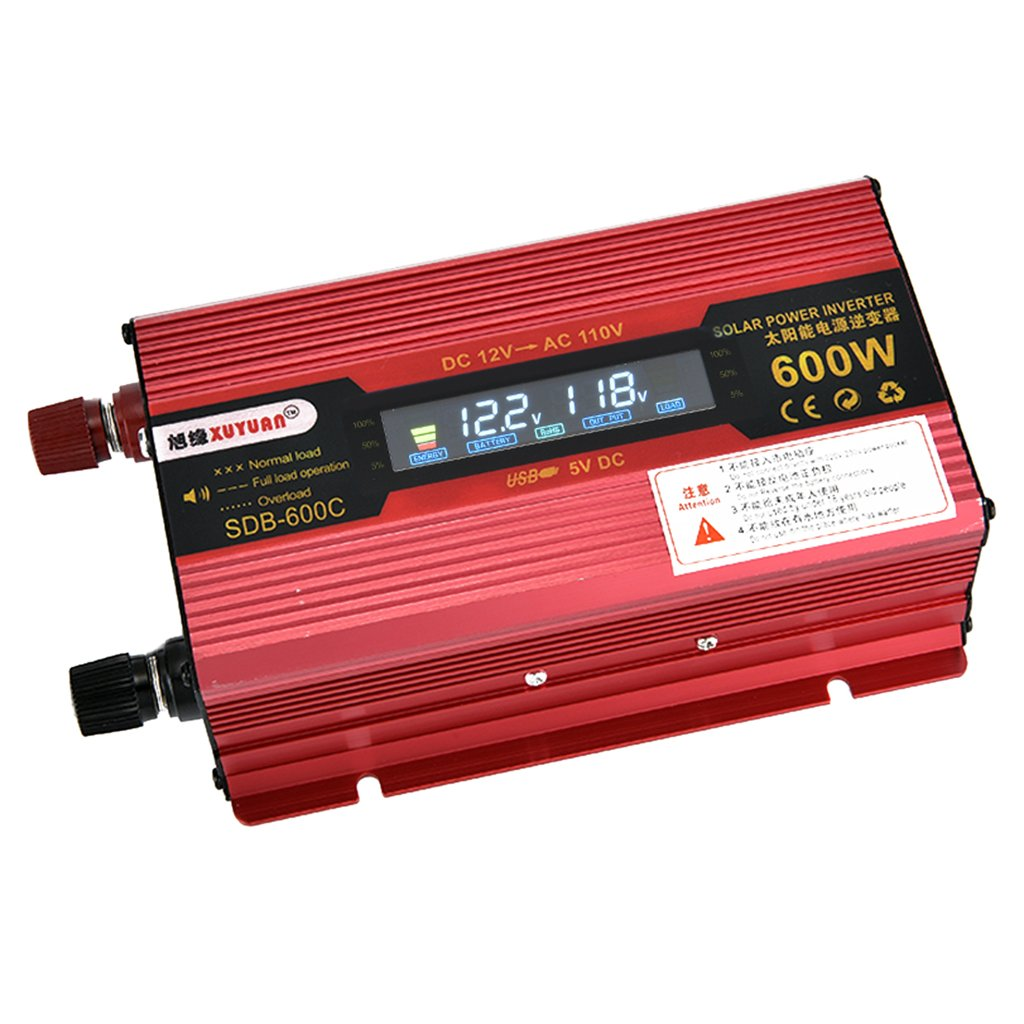 Baoblaze Universal 600W Car LCD Power Inverter DC12V to AC110V Modified Sine Wave Converter