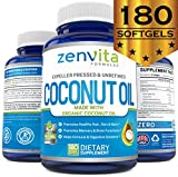 Organic Coconut Oil Capsules 2000mg – 180 Softgels, Coconut Oil Pills Made with Expeller Pressed and Certified Organic Unrefined Coconut Oil. Non GMO & Gluten Free Coconut Oil Supplements