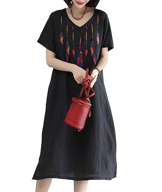 aa11988ce9f YESNO Y60 Women Long Loose Maxi Dress Linen  A  Skirt Handcraft Embroidery  Side Split
