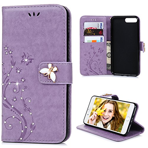 iPhone 7 Plus Case (5.5) – Mavis's Diary 3D Handmade Wallet Embossed Floral Butterfly with Shiny Diamonds Gems PU Leather Elegant Flip Folio  Hand S…