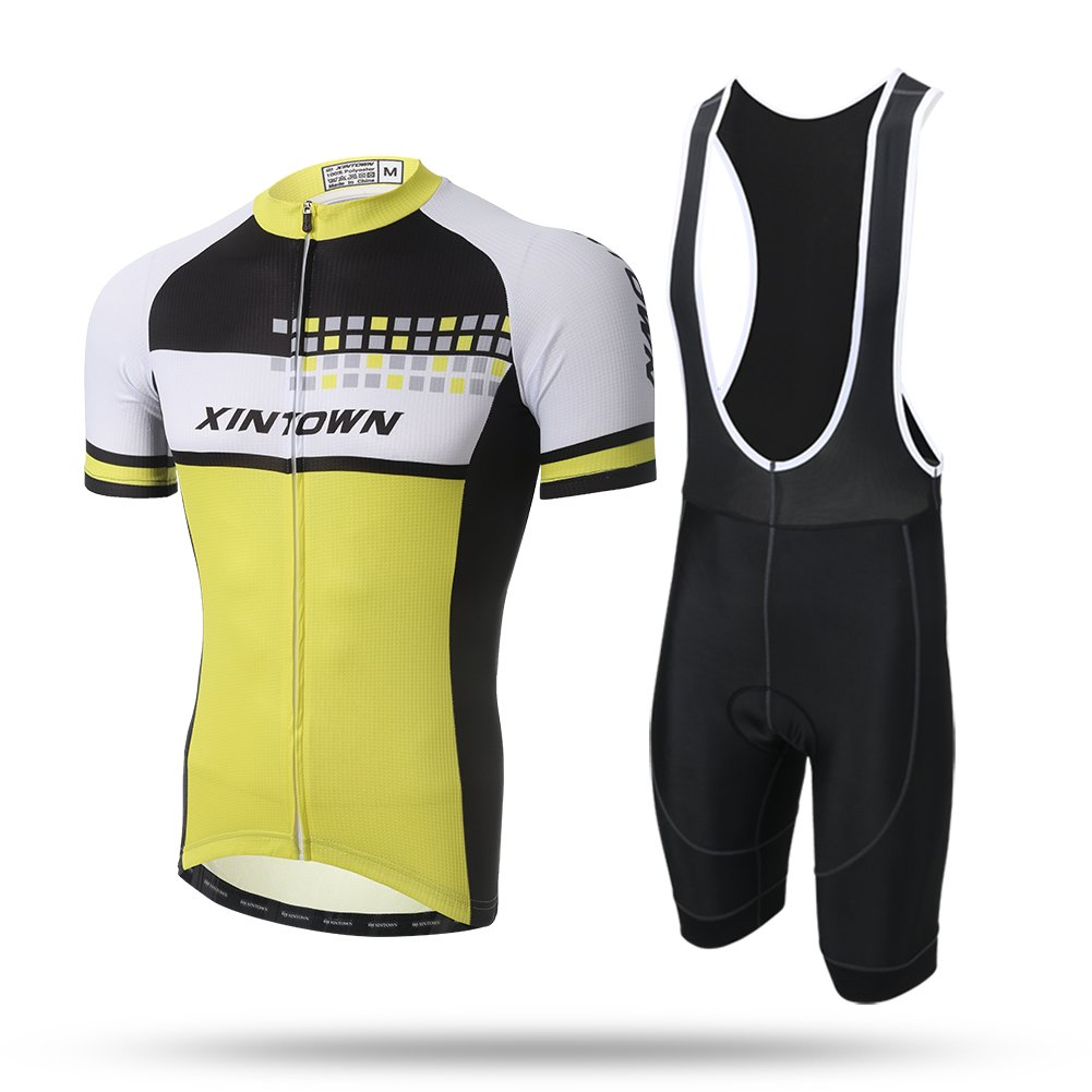 xintow Men 's Cycling Jersey夏Ropa CiclismoサイクルRacing Clothing半袖道路自転車バイクシャツジャケットa112 B072LJB3QM  Bib Set 5XL