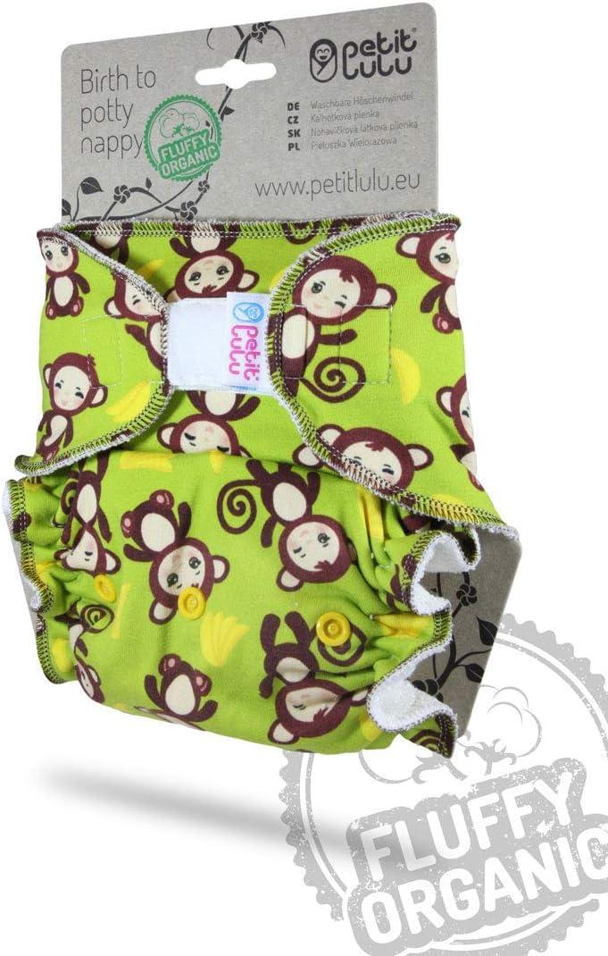 Reutilizable y Lavable Fabricado en Europa Org/ánico Esponjoso Pa/ñal de Bamb/ú Apples green Petit Lulu Ajustado Nocturno Maxi Night XL Pa/ñales de Tela 7-16kg