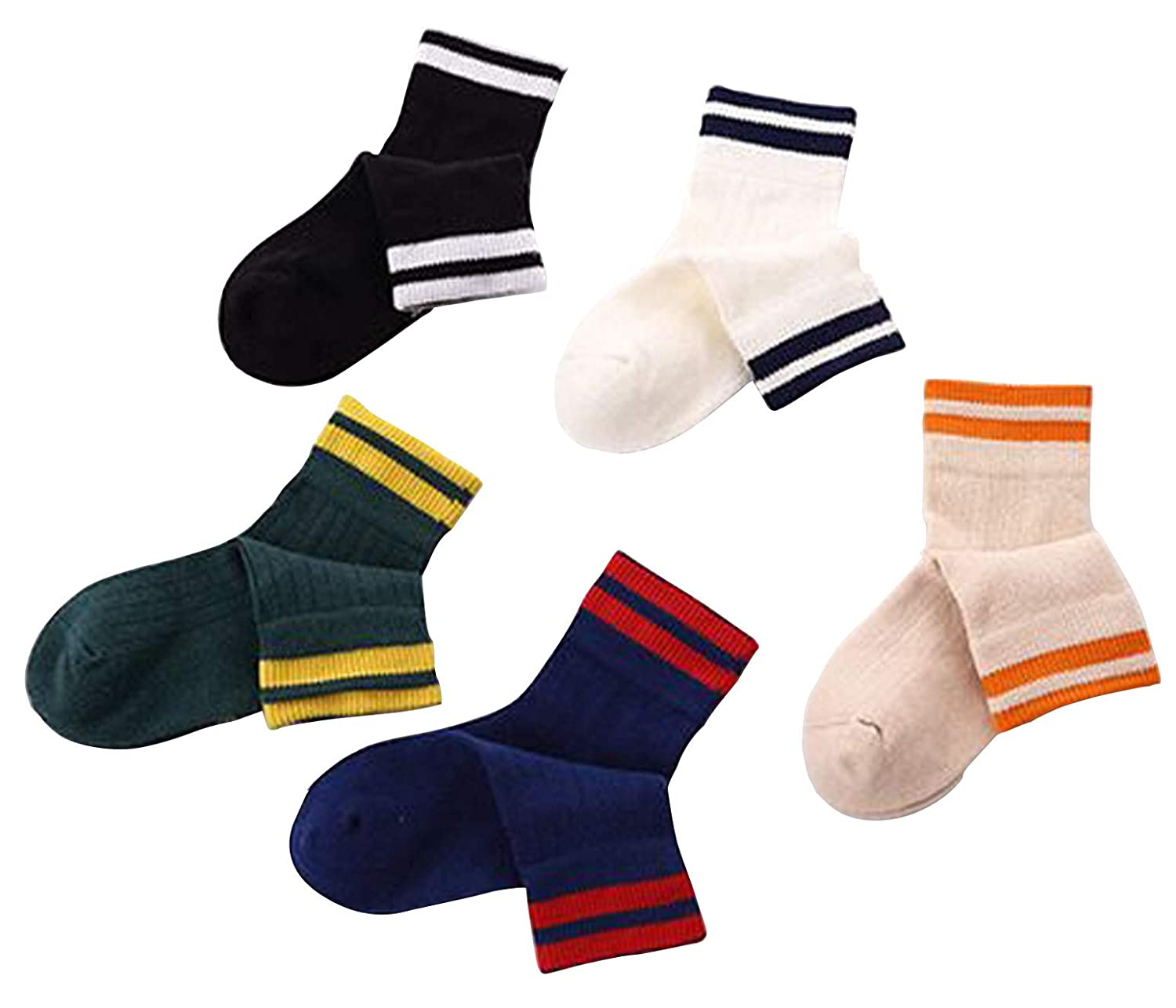 BoXianer Kids Socks Boys Girls Cotton Cute Fun Striped Casual Ankle Childs Socks