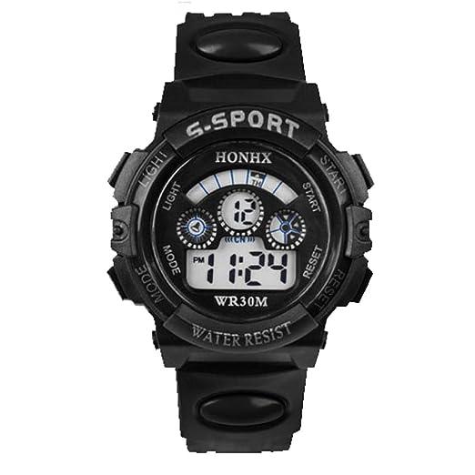 Malloom® moda impermeable Niños Niñas natación deportes silicona digital reloj de pulsera (Negro): Amazon.es: Relojes