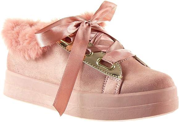Angkorly Scarpe Moda Scarpe Sneakers Zeppe Donna Lacci in Raso Lucide Perforato Tacco Piatto 3,5 CM
