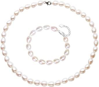 Collar y Pulsera de Perlas para Mujer - Agua Dulce Blanco Perlas cultivadas - Sets de Joyería Perla para Mujer Novia - Ajustable (2 Piezas)