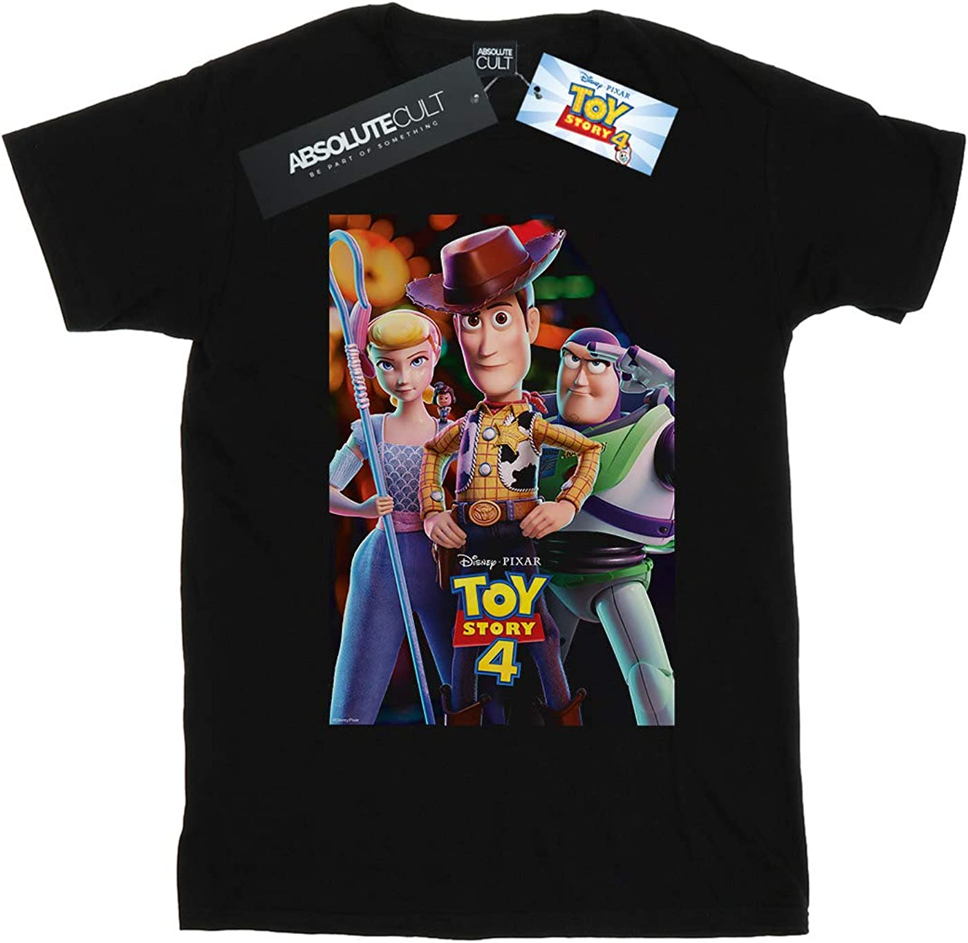 Disney Boys Toy Story 4 Buzz Woody and Bo Peep Poster T-Shirt