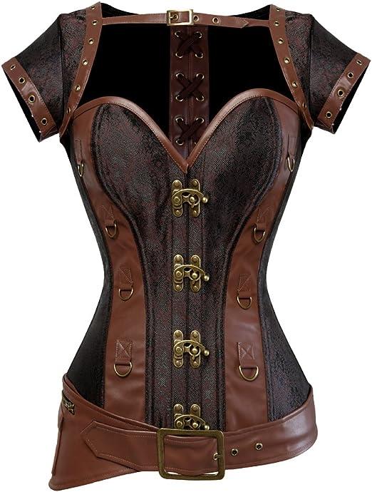 ZAMME Womens Gothic Steel Boned Corset Basques Bodyshaper Bustier