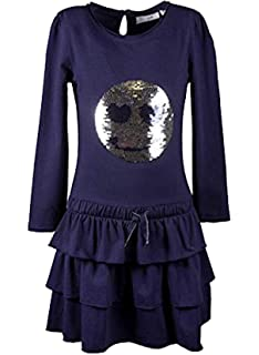 Happy Girls Langarm Kleid mit Wende Pailetten SMILEY navy