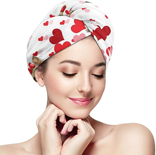 2 PC Dry Hair Cap Quick Drying Lady Towel Superfine Fiber Bathroom Head Wrap