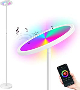 MikeWin Smart LED Floor Lamp WiFi 66 in. Torchiere Floor Lamp Works with Alexa Google Home, Dimmable Color Changing, 2000LM Super Bright, Tall Standing Lamp for Living Room Bedroom Reading White