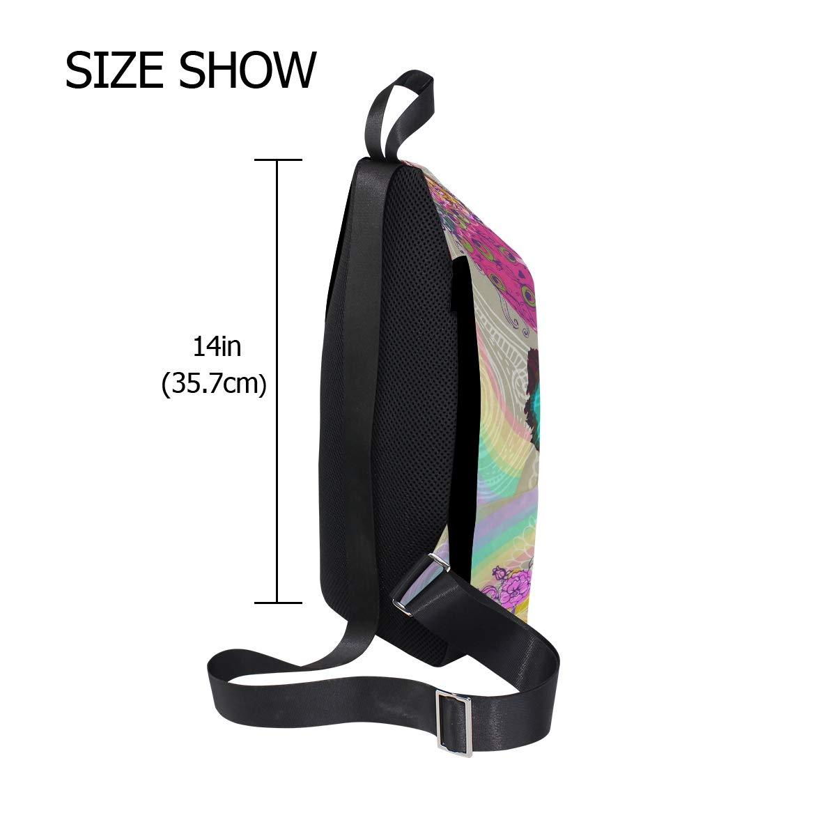 Unisex Messenger Bag Peacock Rainbow Shoulder Chest Cross Body Backpack Bag