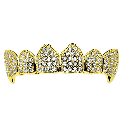Amazon.com: Bling Cartel 18K Gold Plated Fangs CZ Top Grillz ...