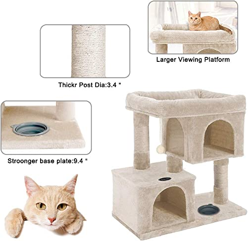 YOHOZ 33in Heavy Duty Luxury Cat Tree and Tower with Feeder Bowl, Spacious Perch, Sisal Wrapped Scratching Posts and Dual Condos Activity Centre Cat Activity Tree Furniture w Sisal Ball Fixing Strap