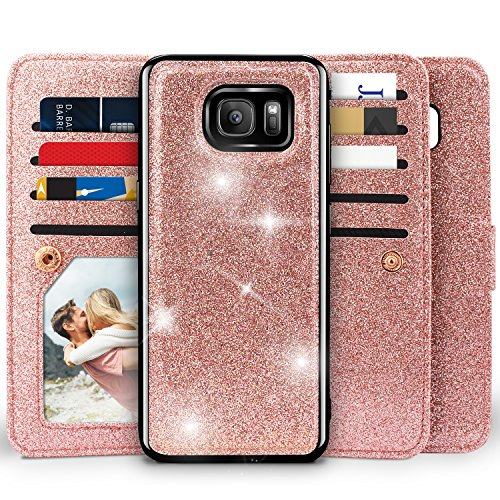 Galaxy S7 Wallet Case, Miss Arts Detachable Magnetic Slim Case with Car Mount Holder, 9 Card/Cash Slots, Magnet Clip, Wrist Strap, PU Leather Cover for Samsung Galaxy S7 -Rose Gold
