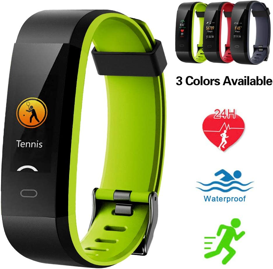 Lintelek Fitness Tracker, Swim Watch Color Screen Activity Tracker IP68 Waterproof Fitness Watch Heart Rate Monitor, Sleep Monitor, Step Counter, 14 Sports Modes Men Women Kids