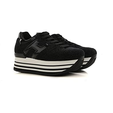 Hogan H283 Maxi Glitter Suede Sneakers Nero Donna  Amazon.co.uk ... de4cbc2ea2b