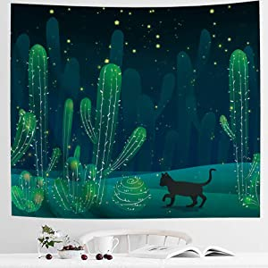 IcosaMro Cactus Tapestry Wall Hanging Cat Hippie Cute Cacti Art Wall Decor (Hemmed Edges) for Bedroom Living Room College Dorm, 51x60 Inch, Green
