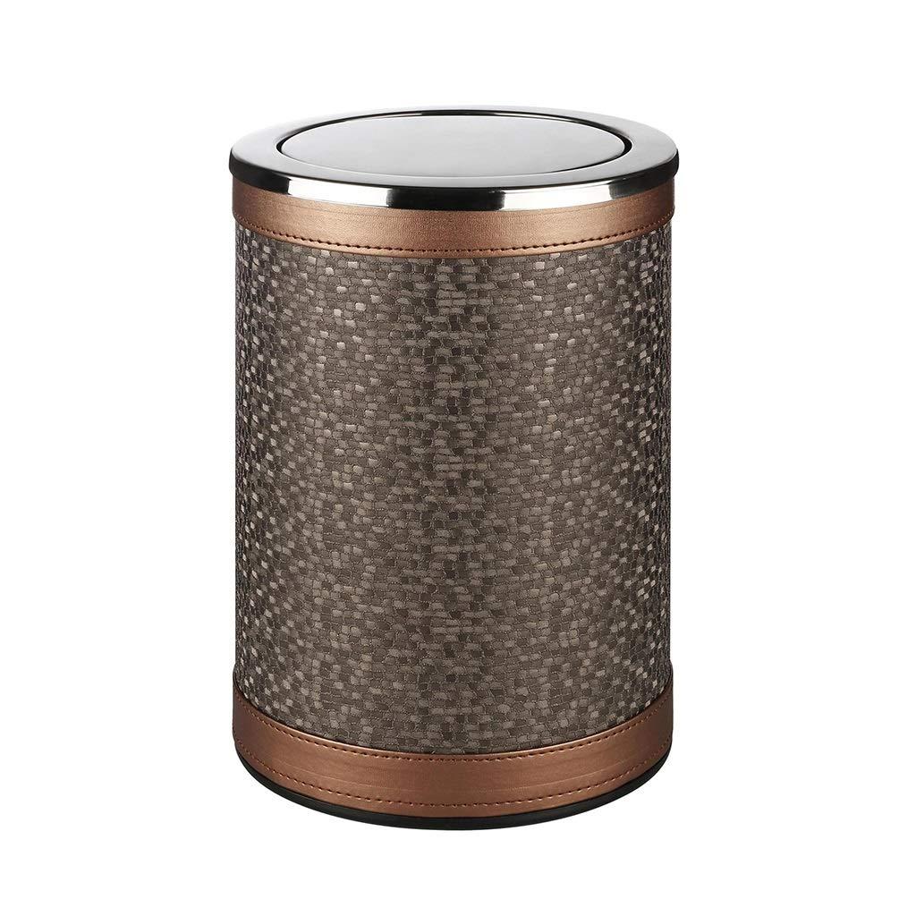 Wghfwx Stainless Steel Shake Cover Trash Can Leather Swing Garbage Bin Household Waste Bin 10L Brown, Office Hotel Living Room Sanitary Bucket