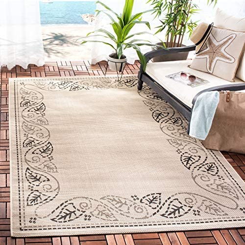 Safavieh Courtyard Collection CY1677-3901 Sand and Black Indoor Outdoor Area Rug 2 x 3 7