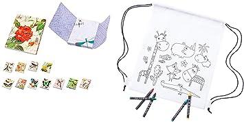 Lote de 30 Mochilas Infantiles Petates Animales + 3Bloc Notas Libretas para Colorear Regalos para Cumpleaños