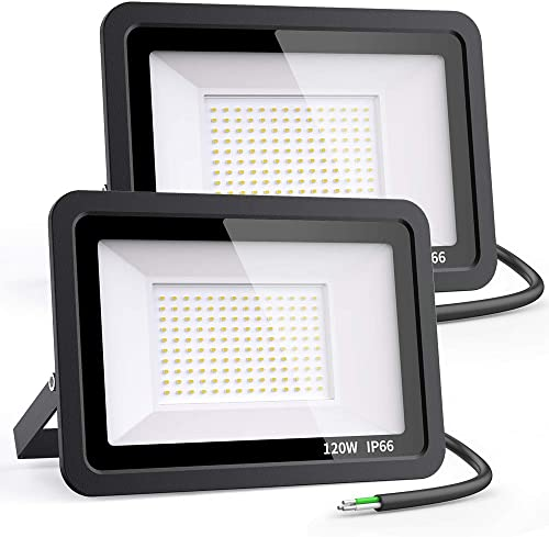 Novostella 120W Exterior LED Flood Light 2 Pack 12000lm Outdoor Super Bright Security Lights, 5000K Daylight White, IP66 Waterproof Floodlight Outside Lighting for Stadium Backyard Garden Playground