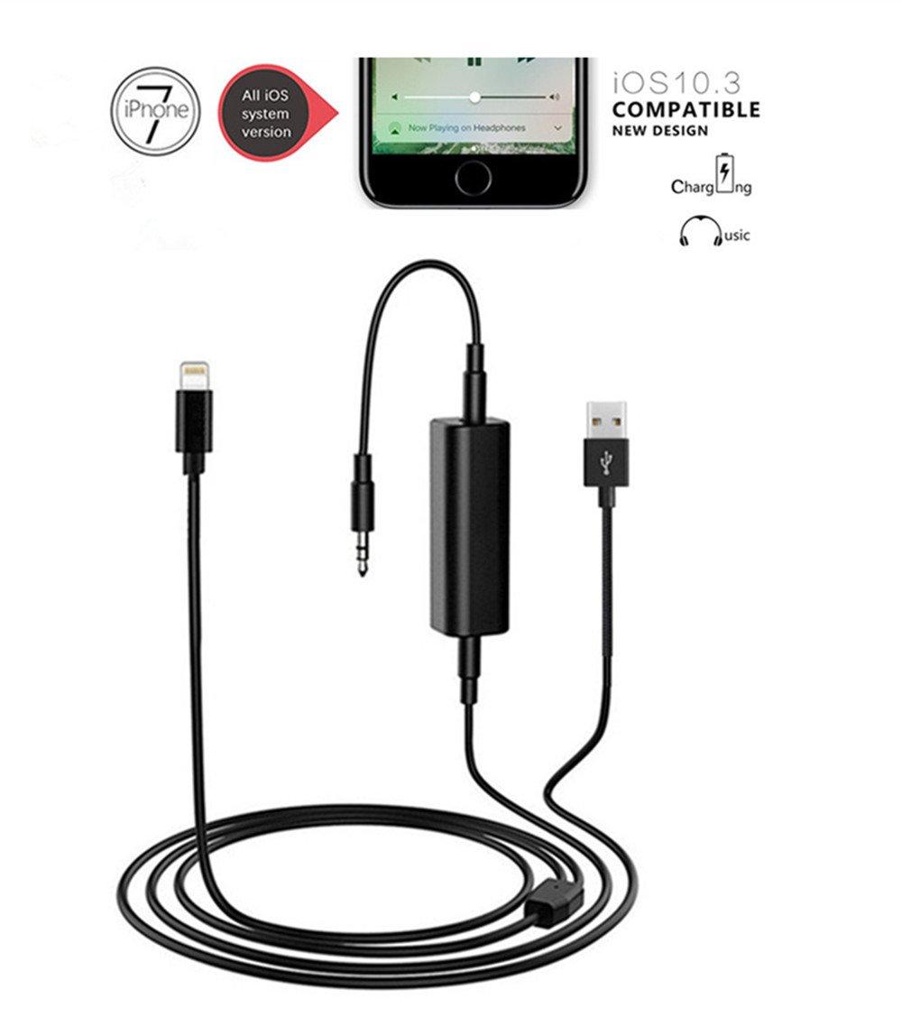 SHINE BMW 7/7 Plus Y Interfaccia di musica a cavi e adattatore per il caricabatterie, presa da 3,5 mm e USB AUX in cavo, adatta per tutti i modelli iPhone 7/7 Plus (inclusi 10,3) (39 pollici / 100 cm) SHINE123 SHINE 123