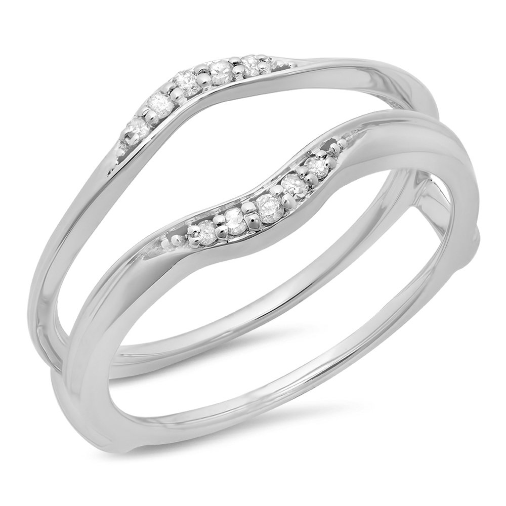 0.10 Carat (ctw) 14K White Gold Diamond Ladies Wedding Band Guard Double Ring 1/10 CT (Size 6)