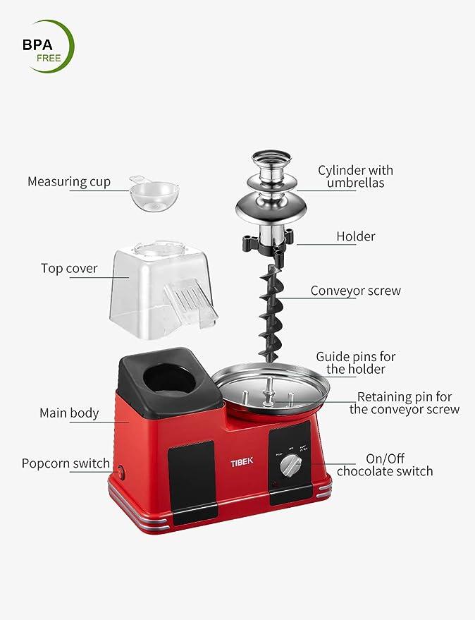 Máquina de palomitas de aire caliente con fuente de chocolate de ...