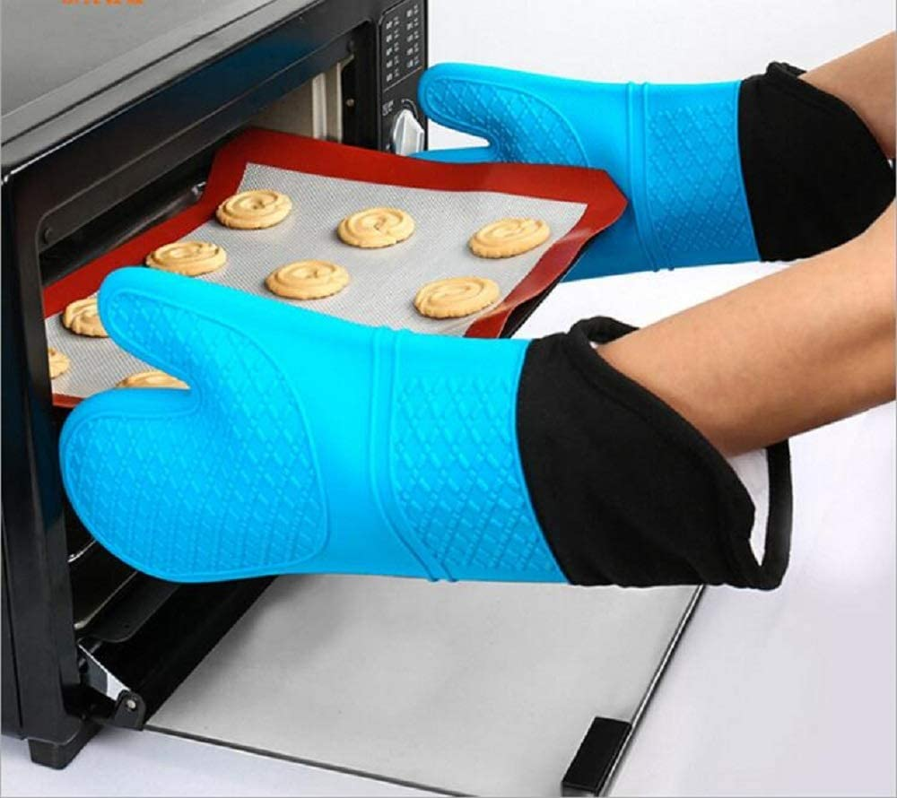 XIE Silicone Oven Gloves - Heat Resistant Grill BBQ Gloves with Fingers Waterproof Non Slip Oven Mitts Kitchen Cooking Gloves for Baking, Grilling, Barbeque, Blue