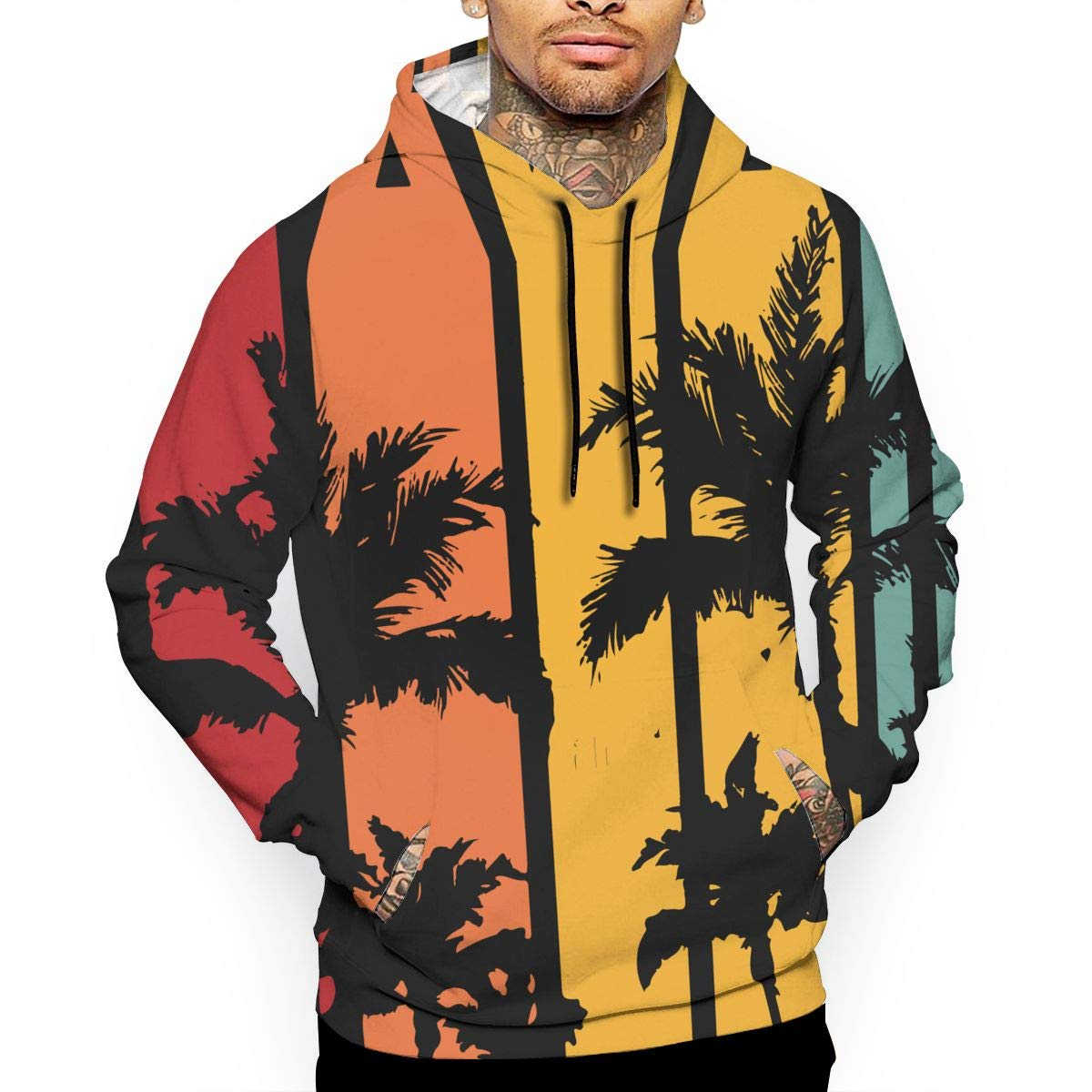 Mens Vintage Hawaiian Pullover Hoodie Athletic 100/% Cotton Outwear with Pocket for Men