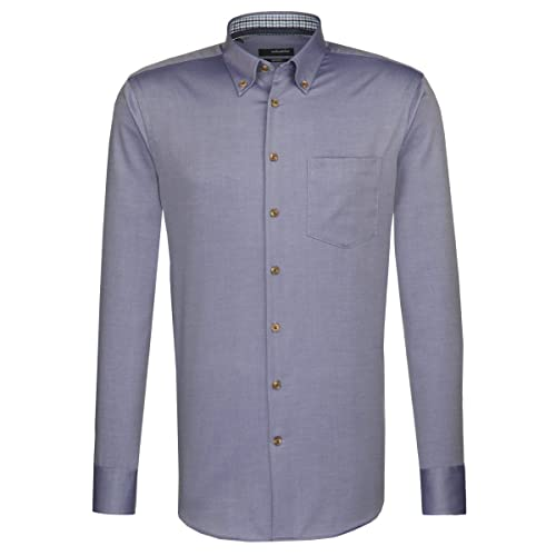 Seidensticker Herren Langarm Hemd Splendesto Regular Fit Button-Down-Kragen blau strukturiert mit Patch 388678.15 (39, Blau)